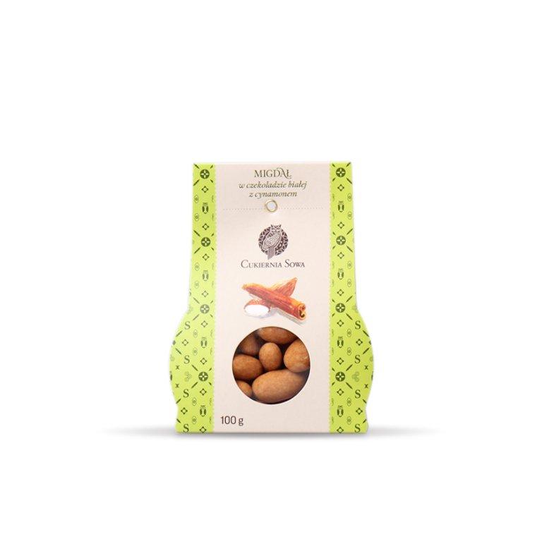 Migdał w czekoladzie białej z cynamonem - Draże - Galanteria czekoladowa