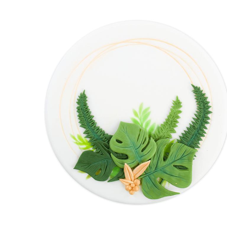Tort Kompzycja z liści - sześcian - Torty ekstradekoracyjne - Torty - Zdjęcie 1