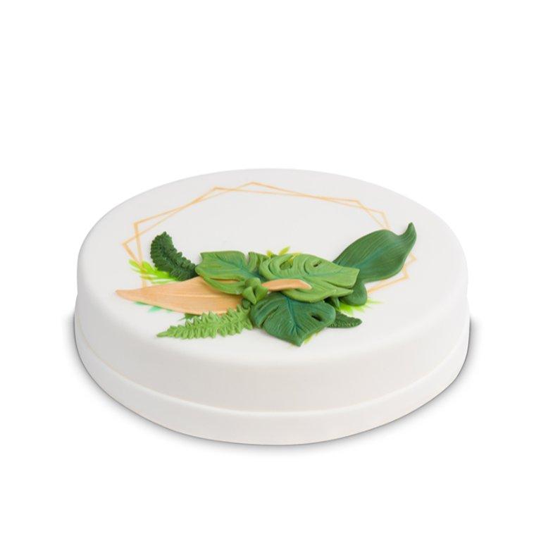 Tort Kompzycja z liści - sześcian