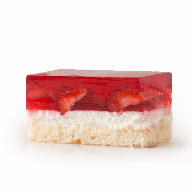Strawberry cube with jelly