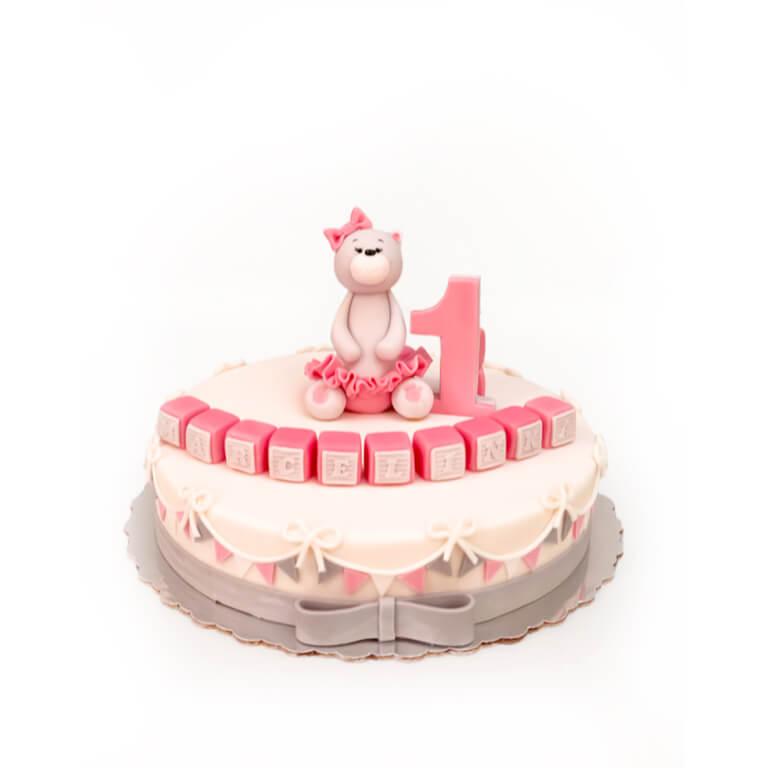 Tort na roczek Miś różowy