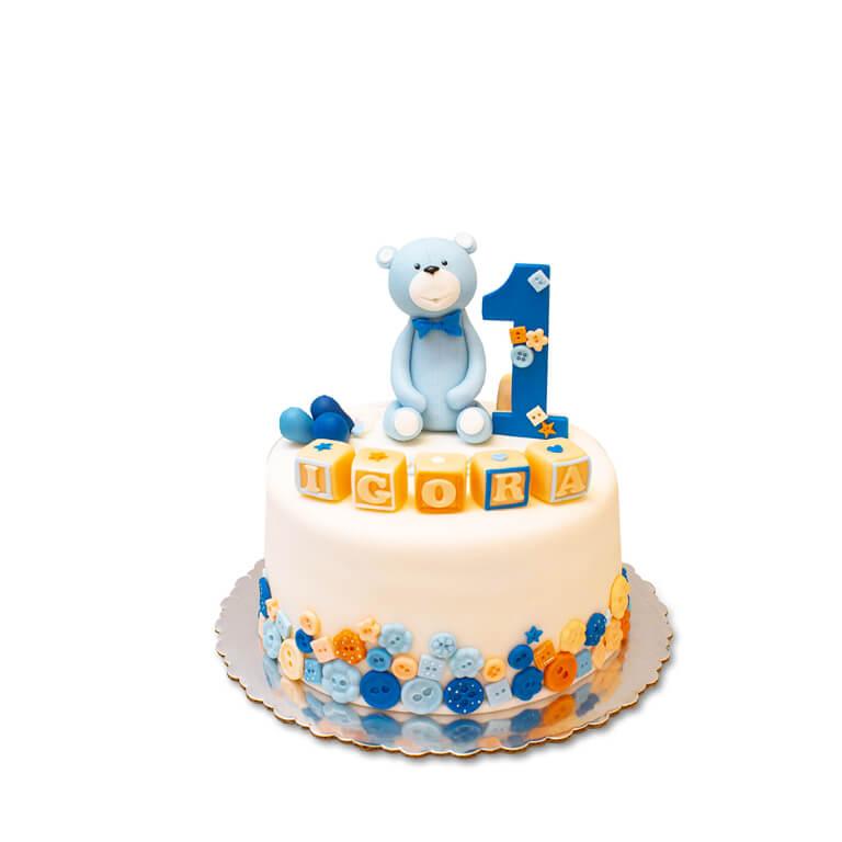 Tort na roczek Misiu Niebieski - Torty ekstradekoracyjne - Torty