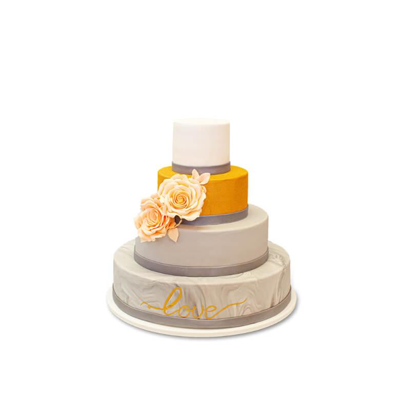 Tort złote róże na marmurze